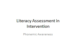 Literacy Assessment in Intervention
