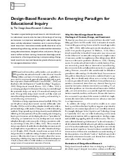 JANUARYFEBRUARY  The authors argue that designbased research which blends empir ical educational research with the theorydriven design of learning environments is an important methodology for understa