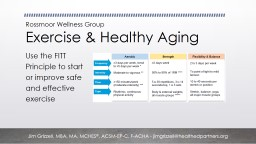 Rossmoor Wellness Group Exercise & Healthy Aging