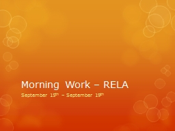 Morning Work – RELA September 15