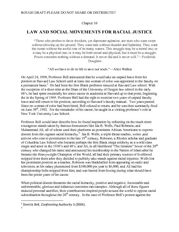 LAW AND SOCIAL MOVEMENTS FOR RACIAL JUSTICE