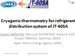 Cryogenic thermometry for refrigerant distribution system of JT-60SA