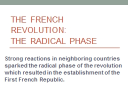 The French Revolution:  The Radical Phase