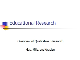 Educational Research Overview of Qualitative Research