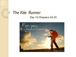 The Kite Runner Day 10: Chapters 24-25