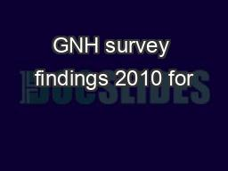 GNH survey findings 2010 for