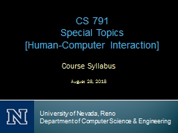 Course Syllabus August 28, 2018