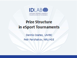 Prize Structure in  eSport