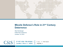 Missile Defense's Role in 21