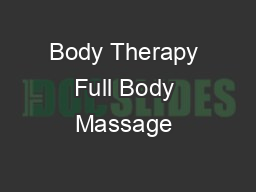 Body Therapy Full Body Massage