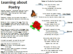 Learning about Poetry Long ago, storytellers, who traveled from town to town, where  the primary so