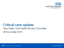 Critical  c are update Tees Valley Joint Health Scrutiny Committee