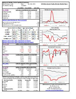 National Weekly Cattle And Beef Summary Des Moines Iowa Mon For Week Ending This Week Prior Week Last Year LMXB NATIONAL COMPREHENSIVE BOXED BEEF CUTOUT VALUES