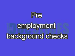 Pre employment background checks