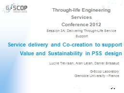 Service delivery and Co-creation to support Value and Sustainability in PSS design