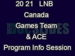 20 21   LNB   Canada Games Team & ACE Program Info Session