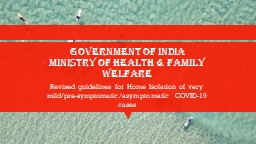 Government of India Ministry of Health & Family