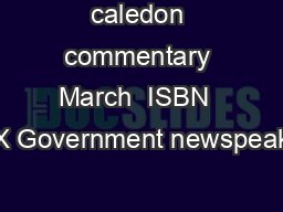 caledon commentary March  ISBN  X Government newspeak