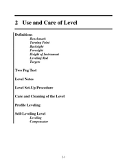 Use and Care of Level Definitions Benchmark Turning