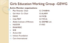 Girls Education Working Group -GEWG