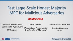 Fast Large-Scale Honest Majority MPC for Malicious Adversaries