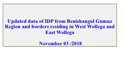 Updated data of IDP from Benishangul Gumuz Region and borders residing in West Wollega and East Wol