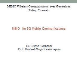 MIMO for 5G Mobile Communications