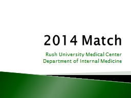 2014 Match Rush University Medical Center