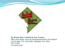 DC  Revenue Bond & Enterprise Zone Program