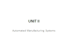 UNIT II Automated Manufacturing Systems