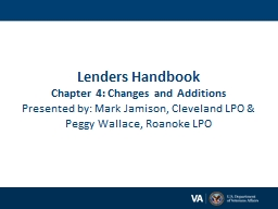 Lenders Handbook Chapter 4: Changes and Additions