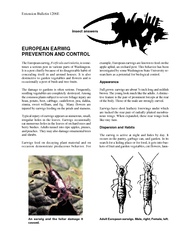 insect answers Extension Bulletin E EUROPEAN EARWIG PR