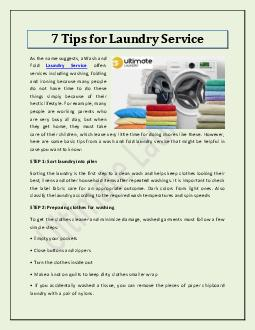 7 Tips for Laundry Service