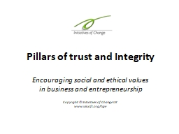 Pillars of trust and Integrity