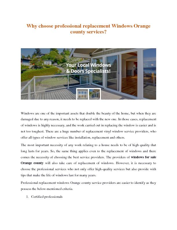 Why choose professional replacement Windows Orange county services?
