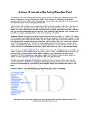 Articles of Interest in the Eating Disorders Field The