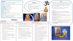 Hinduism Key terms: Trimurti