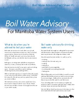 What to do when youre advised to boil your water Boil water advisories are issued when a municipal community or local water supply is at risk of microbial contamination PowerPoint PPT Presentation