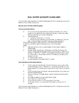BOIL WATER ADVISORY GUIDELINES This information was adapted from materials developed by CDC in Cryptosporidium and Water A Public Health Handbook