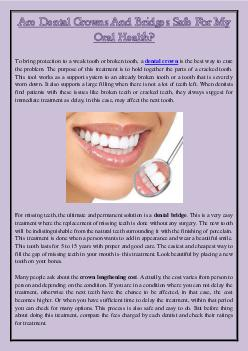Are Dental Crowns And Bridges Safe For My Oral Health?