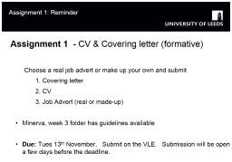 Assignment 1  -  CV & Covering letter (formative)