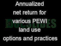 Annualized net return for various PEWI land use options and practices