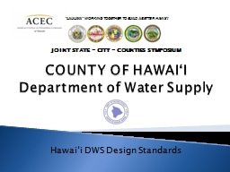 COUNTY OF  HAWAIʻI Department of Water Supply