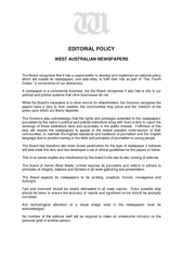 EDITORIAL POLICY WEST AUSTRALIAN NEWSPAPERS The Board