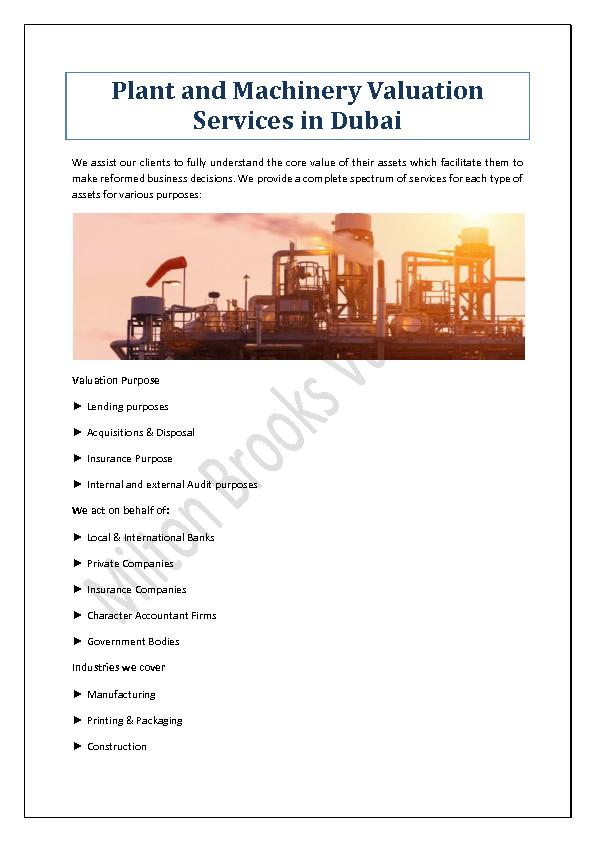 Plant and Machinery Valuation Services in Dubai