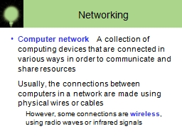 Networking C omputer network