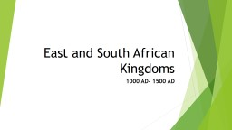 East and South African Kingdoms