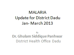 MALARIA Update for District