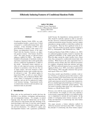 Efciently Inducing Features of Conditional Random Fiel