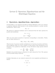 Lecture  Operators Eigenfunctions and the Schrodinger
